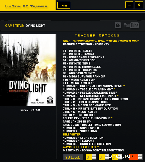 Dying Light трейнер 1.3.0